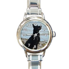 Black German Shepherd Round Italian Charm Watch