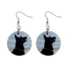 Black German Shepherd Mini Button Earrings