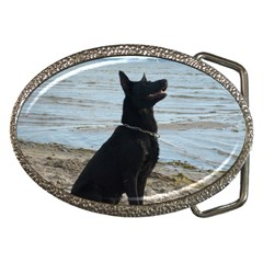 Black German Shepherd Belt Buckle (Oval)
