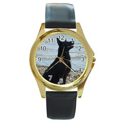 Black German Shepherd Round Leather Watch (Gold Rim)