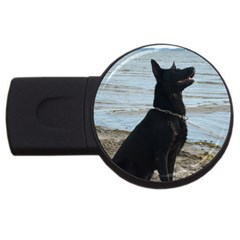 Black German Shepherd 2gb Usb Flash Drive (round)