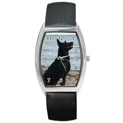 Black German Shepherd Tonneau Leather Watch