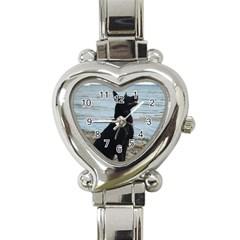 Black German Shepherd Heart Italian Charm Watch