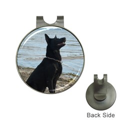 Black German Shepherd Hat Clip with Golf Ball Marker