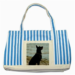 Black German Shepherd Blue Striped Tote Bag