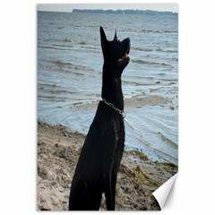 Black German Shepherd Canvas 12  x 18  (Unframed)