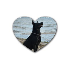 Black German Shepherd Drink Coasters 4 Pack (Heart)