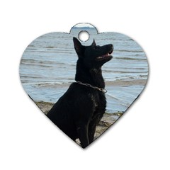 Black German Shepherd Dog Tag Heart (two Sided)
