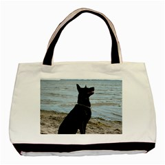 Black German Shepherd Twin Sided Black Tote Bag