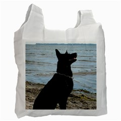 Black German Shepherd White Reusable Bag (Two Sides)