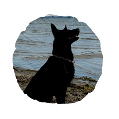 Black German Shepherd 15  Premium Round Cushion