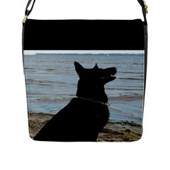 Black German Shepherd Flap Closure Messenger Bag (Large)
