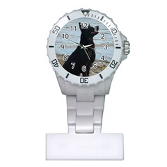 Black German Shepherd Nurses Watch