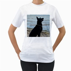 Black German Shepherd Women s T Shirt (white)
