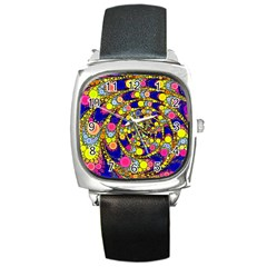 Wild Bubbles 1966 Square Leather Watch