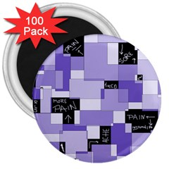 Purple Pain Modular 3  Button Magnet (100 pack)
