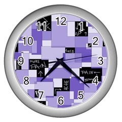 Purple Pain Modular Wall Clock (Silver)