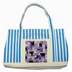 Purple Pain Modular Blue Striped Tote Bag