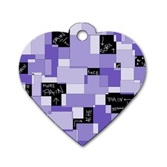 Purple Pain Modular Dog Tag Heart (Two Sided)