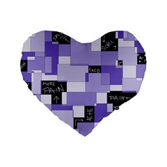 Purple Pain Modular 16  Premium Heart Shape Cushion
