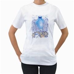 Monster In The City Women s T Shirt (white)