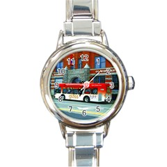 Double Decker Bus   Ave Hurley   Round Italian Charm Watch