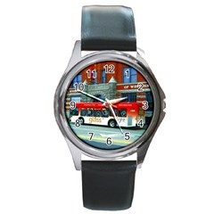 Double Decker Bus   Ave Hurley   Round Leather Watch (silver Rim)