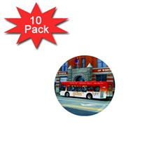 Double Decker Bus   Ave Hurley   1  Mini Button Magnet (10 pack)