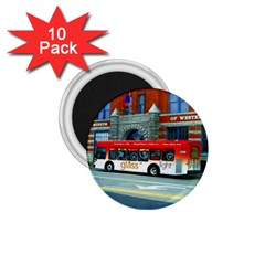 Double Decker Bus - Ave Hurley -  1.75  Button Magnet (10 pack)