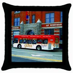 Double Decker Bus   Ave Hurley   Black Throw Pillow Case