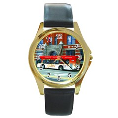 Double Decker Bus   Ave Hurley   Round Leather Watch (Gold Rim)