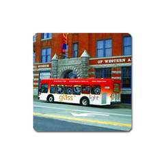 Double Decker Bus   Ave Hurley   Magnet (Square)