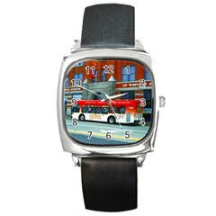Double Decker Bus   Ave Hurley   Square Leather Watch