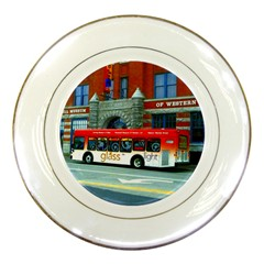 Double Decker Bus   Ave Hurley   Porcelain Display Plate