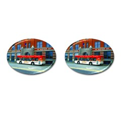 Double Decker Bus   Ave Hurley   Cufflinks (Oval)