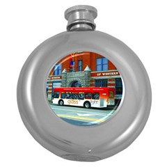Double Decker Bus   Ave Hurley   Hip Flask (Round)