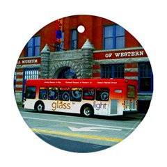 Double Decker Bus   Ave Hurley   Round Ornament (two Sides)