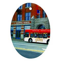 Double Decker Bus   Ave Hurley   Oval Ornament (Two Sides)