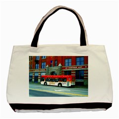 Double Decker Bus   Ave Hurley   Twin-sided Black Tote Bag