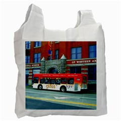 Double Decker Bus   Ave Hurley   White Reusable Bag (one Side)