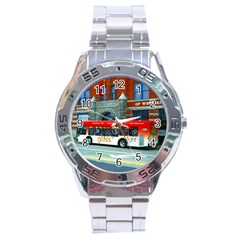 Double Decker Bus   Ave Hurley   Stainless Steel Watch