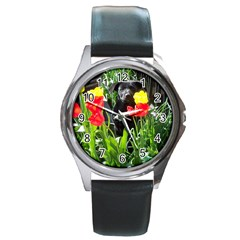 Black Gsd Pup Round Leather Watch (silver Rim)