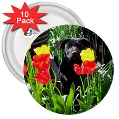Black GSD Pup 3  Button (10 pack)