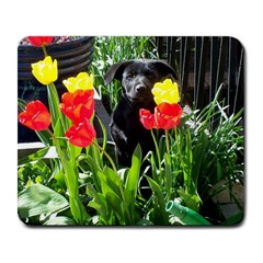 Black GSD Pup Large Mouse Pad (Rectangle)