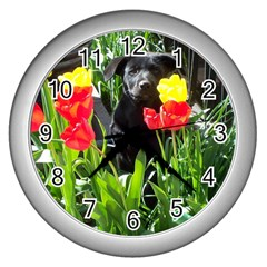 Black GSD Pup Wall Clock (Silver)