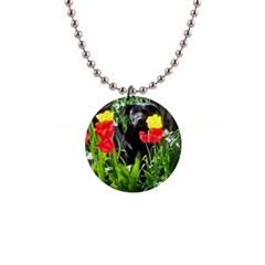 Black GSD Pup Button Necklace