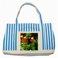 Black GSD Pup Blue Striped Tote Bag