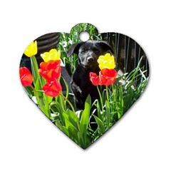 Black GSD Pup Dog Tag Heart (One Sided)
