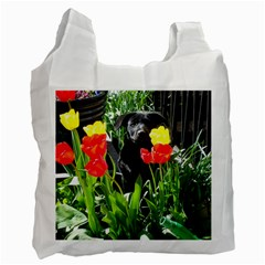 Black GSD Pup White Reusable Bag (Two Sides)