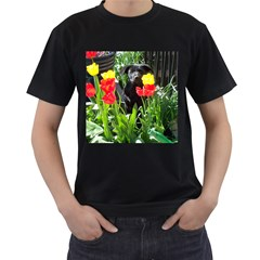 Black Gsd Pup Men s T Shirt (black)